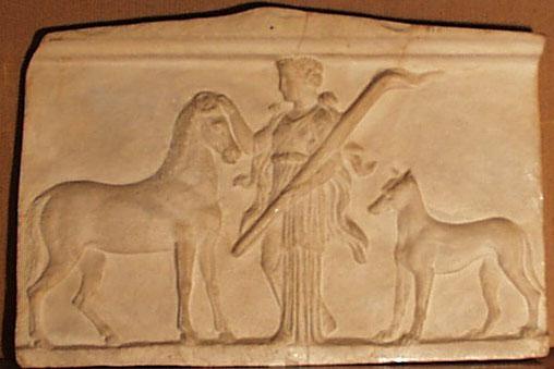 Raffigurazione di Ecate accompagnata dal cane